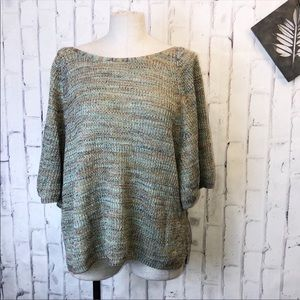 Anthropologie blue green slouchy crop sweater. XL